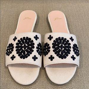J Crew Embroidered Slide Sandals
